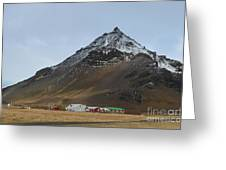 Farm At The Base Of Mt Stapafell Greeting Card
