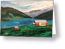 Farm At The Fjord Greeting Card