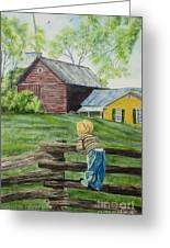 Farm Boy Greeting Card by Charlotte Blanchard