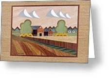 Farm By Ripon-marquetry Greeting Card