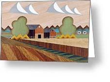 Farm By Ripon -marquetry-image Greeting Card