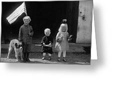 Farm Children And Flag Greeting Card