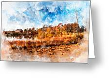 Farm Fall Colors Watercolor Greeting Card by Michael Colgate