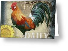 Farm Fresh Red Rooster Sunflower Rustic Country Greeting Card