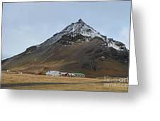 Farm Houses At The Base Of Mt Stapafell In Iceland Greeting Card