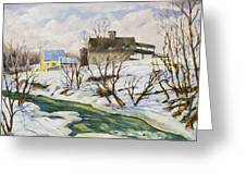 Farm In Winter Greeting Card