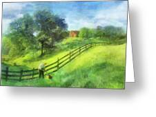 Farm On The Hill Greeting Card