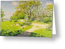 Farm Scene With Pecking Chickens Greeting Card
