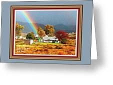 Farm Scene With Rainbow After Some Rains L A With Decorative Ornate Printed Frame. Greeting Card