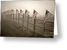 Farm With Fence And American Flags Greeting Card