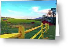 Farm Yard Fence Greeting Card