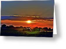 Farmer And A Sunset. Greeting Card