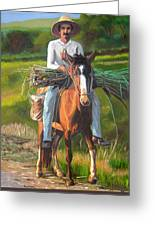 Farmer On A Horse Greeting Card