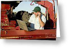 Farmer With Laptop And Cell Phone Greeting Card