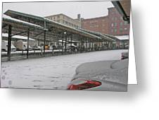 Farmers Market First Snow Greeting Card