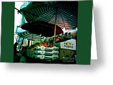 Farmers Market With Striped Umbrellas Greeting Card