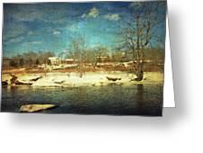 Farmhouse Across The River Greeting Card