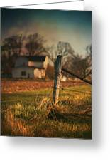 Farmhouse And Fence Post Greeting Card