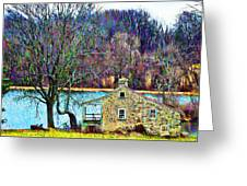 Farmhouse By The Lake Greeting Card
