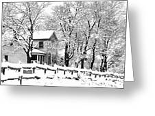Farmhouse In Winter Greeting Card