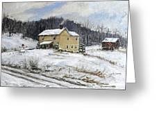 Farmhouse Snowman Greeting Card