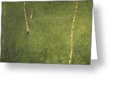 Farmhouse With Birch Trees Greeting Card by Gustav Klimt