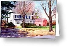 Farmhouse With Red Barn Greeting Card