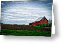 Farming Red Barn On A Quite Spring Day Greeting Card