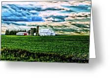 Farmland In  Hdr Greeting Card