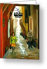 Fashion Alley In Bologna Greeting Card by Milagros Palmieri