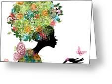 Fashion Girl With Hair Arabesque Greeting Card