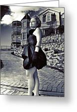 Fashionable Woman And Mansion Greeting Card