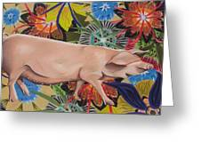 Fashionista Pig Greeting Card