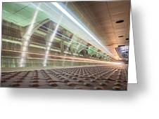 Fast Moving Long Exposure Of Subway Train Underground Tunnel Greeting Card