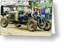 Father And Daughter In The Tractor Parade Greeting Card