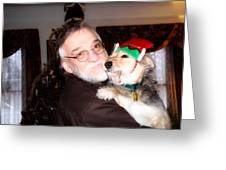 Father And Son At Christmas Greeting Card