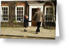 Father And Son Walking Towards Georgian Entrance Greeting Card