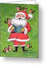 Father Christmas And Robin Chorus Greeting Card