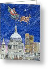 Father Christmas Flying Over London Greeting Card