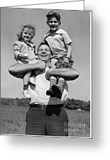 Father Holding Children, C.1930s Greeting Card