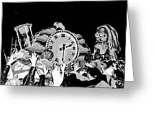 Father Time In Black And White Greeting Card