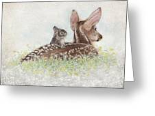 Fawn And Bunny Greeting Card