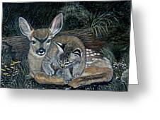 Fawn And Cat Greeting Card
