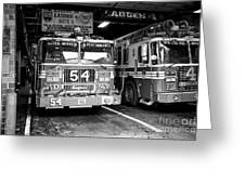 fdny fire station with engine 54 and ladder 5 battalion 9 New York City USA Greeting Card