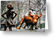 Fearless Girl And Wall Street Bull Statues Greeting Card