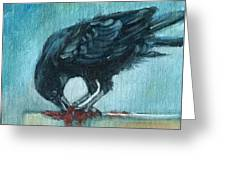Feasting Raven Greeting Card