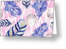Feathers And Eggs Pattern Greeting Card