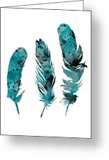 Feathers Watercolor Painting Greeting Card