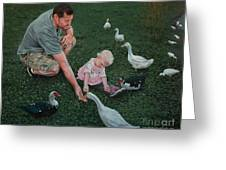 Feeding Ducks With Daddy Greeting Card