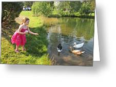 Feeding The Ducks Greeting Card